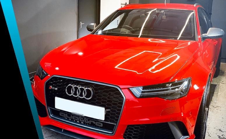 Red Audi car detailing